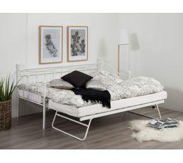 Lit banquette gigogne OLIVIA 2x90x190 cm blanc