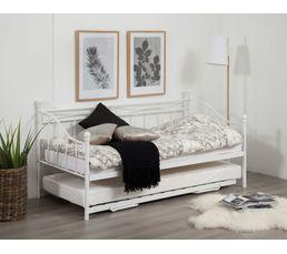 Lits - Lit banquette gigogne OLIVIA 2x90x190 cm blanc