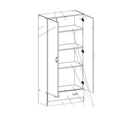 Armoire 2 portes LITTLE imitation ch�ne structur�