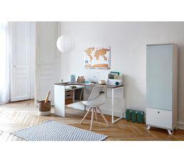 Bureau d 39 angle alkor imitation ch ne gris blanc bureaux but for Bureau gris et blanc