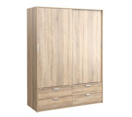 Armoire 2 portes coulissantes DRESS imitation ch�ne