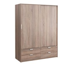 Armoire 2 portes coulissantes dress imitation ch ne gris for Meuble penderie porte coulissante