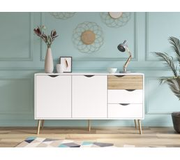 Buffet 2 portes/3 tiroirs OSLO Blanc/chêne