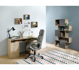 Bureaux - Bureau droit LEXIK Imitation chêne gris