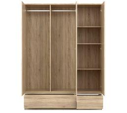 Armoire 3 portes 2 tiroirs BEST imitation ch�ne