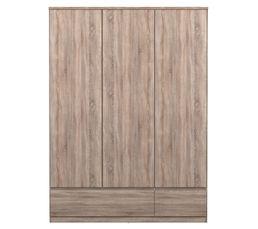 Armoire 3 portes 2 tiroirs BEST imitation chêne gris