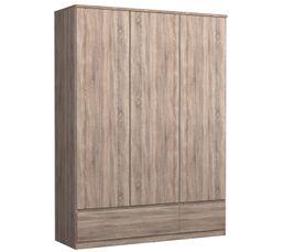 Armoire 3 portes 2 tiroirs BEST imitation ch�ne gris