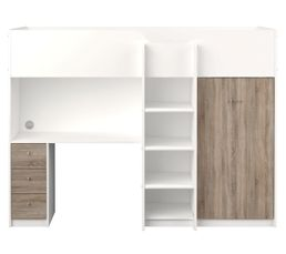 Lit compact 90x200 cm Spacio blanc ch�ne