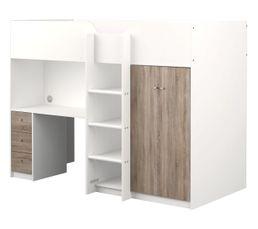 Lits - Lit compact 90x200 cm Spacio blanc chêne