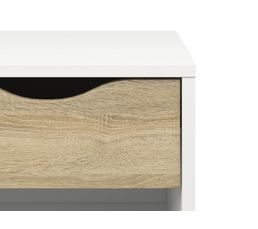 Chevet OSLO blanc/ imitation chêne