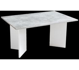 Optez pour le style urbain de la table basse MILIE On aime : ses pieds en équerre Dispo pcs détachées donnée fournisseur : 2 ans Structure : Panneaux de particules 16 mm Pieds : Blanc en forme d'équerre Teinte : Blanc et effet béton Dimensions en cm : L.