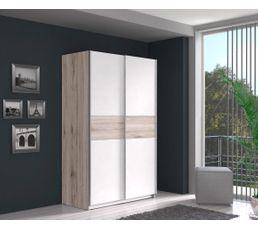 Armoires - Armoire 2 portes coulissantes Ohio blanc imitation chêne cendré