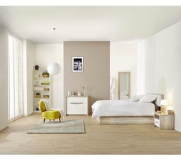 Lit 140 x190 cm Saint Tropez imitation chêne cendré/ blanc