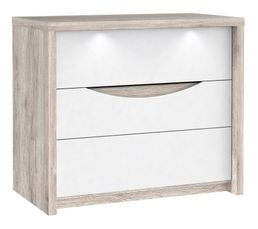 Commodes & Chiffonniers - Commode 3 tiroirs Saint Tropez imitation chêne cendré /blanc