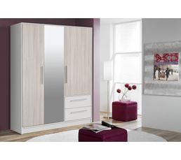 Armoire ouvrantes 3 portes 2 t Jupiter blanc et imitation acacia