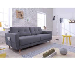 Canap 3 places scandinave tissu gris anthracite stockholm for Canape 3 places tissu gris