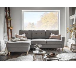 Canapé d'angle gauche convertible tissu gris clair STOCKHOLM