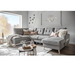 Canapé grand angle gauche scandinave convertible Tissu gris clair STOCKHOLM