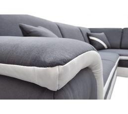 Canapé d'angle droit convertible gris blanc QUINN