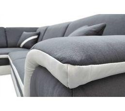 Canapé d'angle gauche convertible gris et blanc QUINN