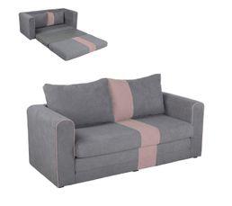 Canapé 2 places convertible gris et rose BRAVO