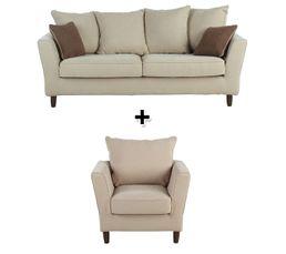 Canapé 3 places + fauteuil tissu 100% déhoussable CANEL