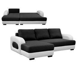 Canapé angle gauche convertible ROCKY Tissu gris et blanc