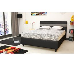 lit 140x190 cm miki noir et gris lits but. Black Bedroom Furniture Sets. Home Design Ideas