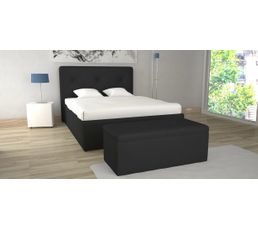 lit coffre 140x190 cm syla pu noir lits but. Black Bedroom Furniture Sets. Home Design Ideas