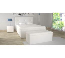 Lit coffre 140X190 cm + banc coffre SYLA Blanc