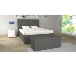 lit coffre 160x200 cm syla pu gris lits but. Black Bedroom Furniture Sets. Home Design Ideas