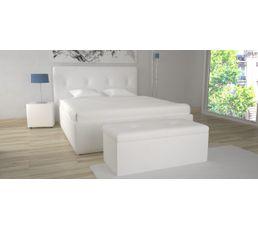 Lit coffre 160X200 cm + banc coffre SYLA Blanc