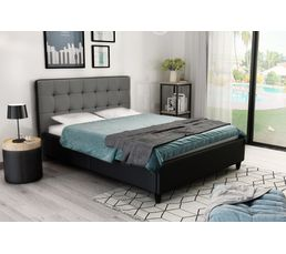 lit 140x190 cm stanley noir et gris lits but. Black Bedroom Furniture Sets. Home Design Ideas