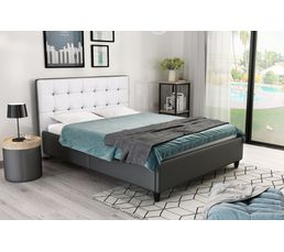lit 140x190 cm stanley gris et blanc lits but. Black Bedroom Furniture Sets. Home Design Ideas