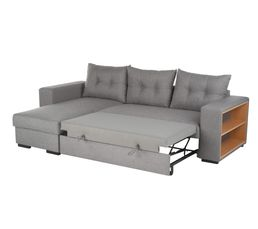 Canapé d'angle réversible convertible CAMELIA tissu gris