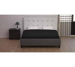 lit 160x200 cm stanley gris et blanc lits but. Black Bedroom Furniture Sets. Home Design Ideas