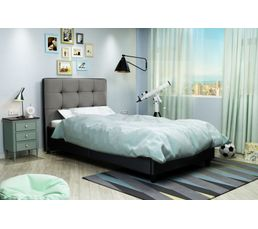 lit 90x190 cm stanley noir et gris lits but. Black Bedroom Furniture Sets. Home Design Ideas