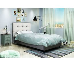 Lit 90x190 cm STANLEY Gris et blanc
