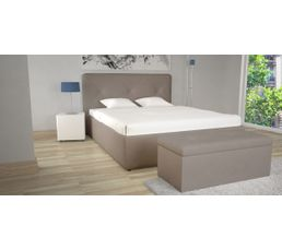 lit coffre 140x190 cm syla pu taupe lits but. Black Bedroom Furniture Sets. Home Design Ideas
