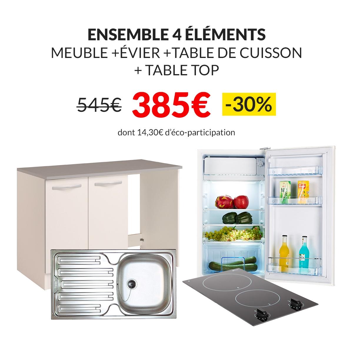 -30% sur l'ensemble 4 éléments : Meuble de cuisine + Evier + Table de cuisson + Table top