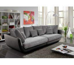 canap 4 places valencia pu noir tissu gris canap s but. Black Bedroom Furniture Sets. Home Design Ideas
