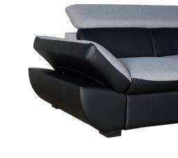 Angle convertible droit CHANCE PU Noir/Tissu Gris