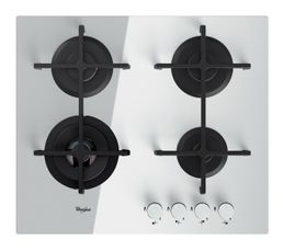 Surface en verre. 1 foyer ultra rapide de 3500 W. Grilles en fonte. Nbre de foyers : 4 Foyer ARD-ARG/AVD-AVG (W) : 1750-1750/1000-3500 Type table : gaz Allumage : intégré aux manettes Dimensions d'encastrement en cm : L. 59 - H. 4,9 - P. 51 Dimensions en