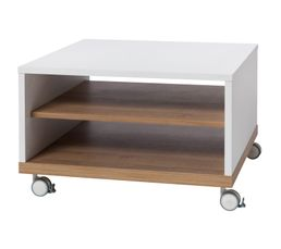 LUDO Table basse fixe Blanc/chêne