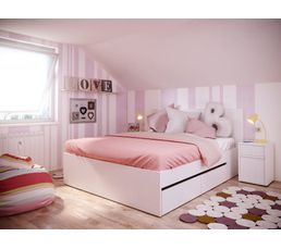 Lit 140x190 cm avec tiroirs DORMA Blanc