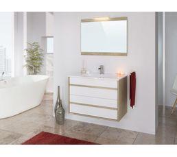 Ensemble de salle de bain 80cm koh tao blanc et ch ne for Ensemble meuble salle de bain blanc
