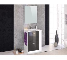 Meuble de salle de bain 60 cm blanc et gris MALDIVES