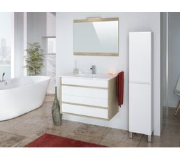 Meubles de salle de bain KOH TAO 80 cm + colonne à poser BALI blanc