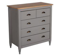 commode 5 tiroirs joyce gris pas cher avis et prix en promo. Black Bedroom Furniture Sets. Home Design Ideas