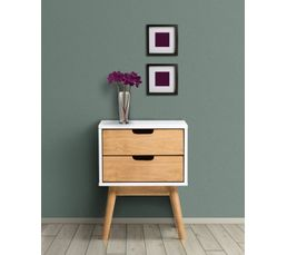 chevet scandinave 2 tiroirs pin blanchi et bois cir maela chevets but. Black Bedroom Furniture Sets. Home Design Ideas